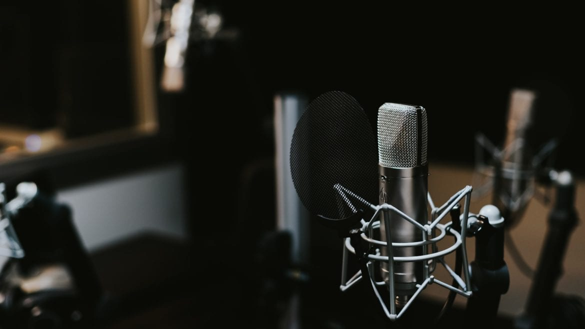 macro photography of silver and black studio microphone condenser